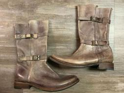 NEW Bed Stu Women's Turn Leather Motorcycle Boots Buckle Tan