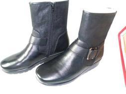 NEW Womens Aerosoles Black Motorcycle Boots Size 5.5 Medium