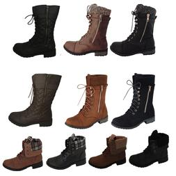 New Womens Military Boots motorcycle Heel Combat booties lac