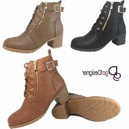 NEW Womens Shoes Combat Boots Ankle Booties Mid Calf Mid-Hee