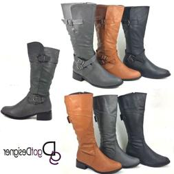 NEW Womens Shoes Knee High Riding Boots Slouch Cowboy Milita