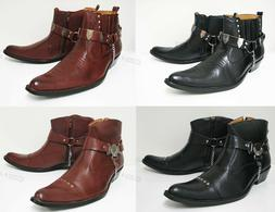 NIB Men's Western Cowboy Boots Slip On Winter Shoes Ankle