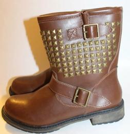 NWT Sketchers Women Boots Leather Studded Metal Brown Lined