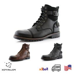 Men's Motorcycle Casual Boots Riding Hiking Waterproof Buckl