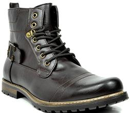 Bruno Marc Men's Philly-5 Dark Brown Military Combat Boots -