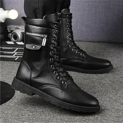 Punk Men's Zipper Motorcycle Military Boots Shoes Combat Lea
