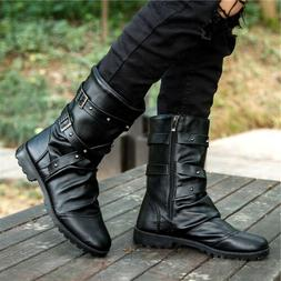 punk mens combat military boots zipper motorcycle