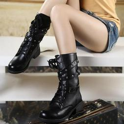 Punk Women's Combat Boots Motorcycle Biker Military 3 Buckle