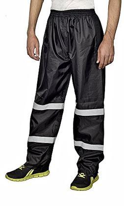 Xtreemgear Mens Rain Pants 100% Waterproof Reflective Stripe
