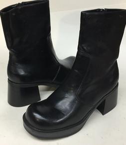 Rare Vintage Women's Round Toe Block Heel Black Skechers Boo