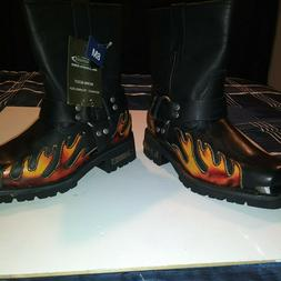 Xelement Red Flame Stitch Motorcycle Leather Biker Boots Wom