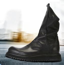 Retro British Style Mens Real Leather Motorcycle Ankle Boots