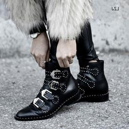 LZJ Rivets Faux Leather Booties Buckle Straps Thick Heel Bla