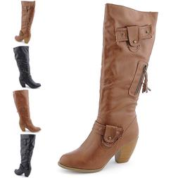 Round Toe Slouch Comfort Mid Calf Faux Leather Motorcycle ri
