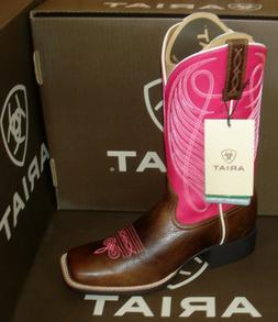 """ARIAT ROUND UP women's 13"""" Cowboy Riding Motorcycle Square T"""