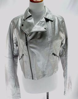 Selena Gomez Adidas NEO NWT Biker Jacket Signed Size L Silve