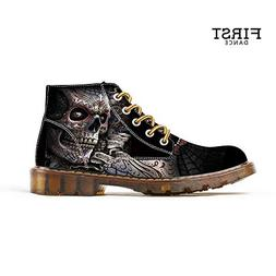 FIRST DANCE Shoes for Men Skull Print Boots Fashion Sneaker