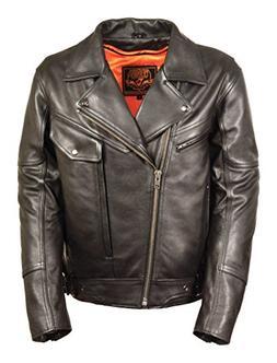 Men's Side Set Belt Utility Pocket Motorcycle Jacket