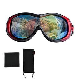 Ski Goggles, Full Mirror Coated Lens Spherical Lens UV Prote