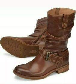 Sofft Bostyn Slouchy Brown Leather Buckle Mid Calf Motorcycl