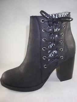 Sugar Puckered Women's Ankle Boots Black Booties Knit Zip Up
