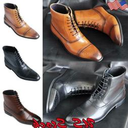 US Men's Ankle Dress Boots Leather Motorcycle Chukka Boots O