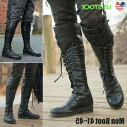 US Mens Motorcycle Riding Pirate Boots Steampunk Knee High L
