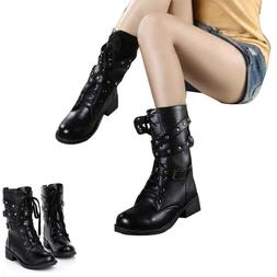US Punk Women's Combat Boots Motorcycle Biker Military 3 Buc