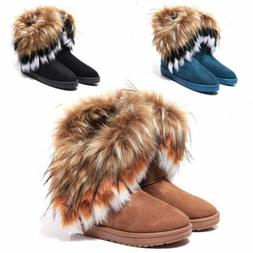 US Women's Winter Casual Warm Suede Faux Fox Fur Short Snow