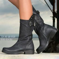 US Womens Booties Round Toe Mid Calf Side Zipper Casual Moto