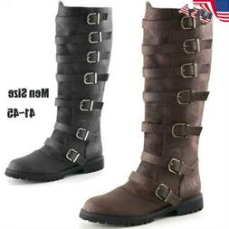 USA Mens Knee High Pirate Boots Military Vintage Biker Motor