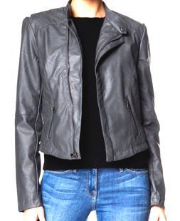 Tart Collections Vegan Leather Moto Jacket Steel Women's Med