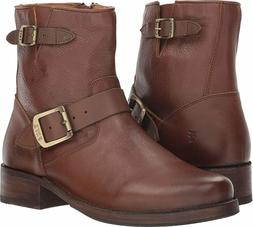 Frye Vicky Engineer Motorcycle Ankle Boots Moto Brown Bootie