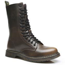 Vintage Military Boots Men High Genuine Leather Riding Boots