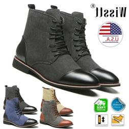 Winter Men's Martin Ankle High Top Boots Leather Lace Up Mot