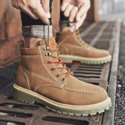 Winter Mens British Style Lace up Motorcycle Boots Army Work
