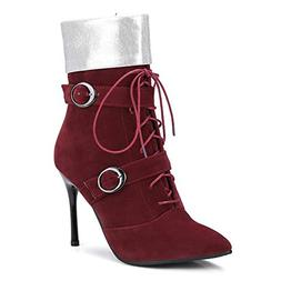 MUNDERA Woman Thin High Heeled Ankle Boots Lace Up Buckle Zi