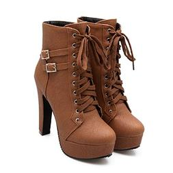 Susanny Women Autumn Round Toe Lace Up Ankle Buckle Chunky H