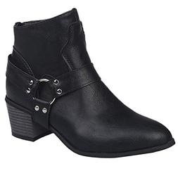 COPPEN Women Boot Motorcycle Biker Leather Shoes Ankle Retro