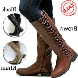 Women Calf Boots Lady Low Heel Knee High Punk Motorcycle Pun