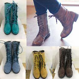 Women Combat Lace Up Low Heel PU Leather Martin Boots Vintag