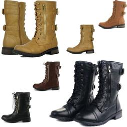 Women Combat Lace Up Zip Grommet Buckle Motorcycle Boots Syn