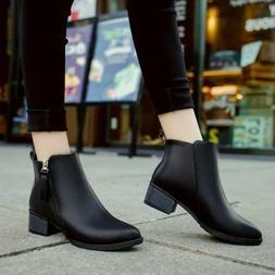 Women Fashion Side Zip PU Leather Mid Heel Shoes Motorcycle