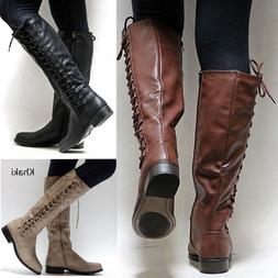 Women Flat Calf Boots Lady Low Heel Knee High Punk Motorcycl