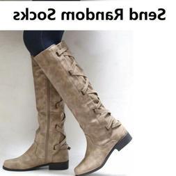 Women Flat Low Heel Knee High Ladies Leg Calf Boots Motorcyc