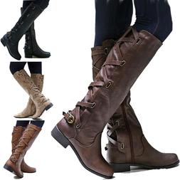 Women Flat Low Heel Knee High Ladies Leg Calf Boots Motorcyc