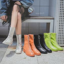Women Front Zipper Boots Punk Low Block Heel Martin Booties