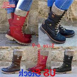Women Lace Up Motorcycle Mid Calf Boots Round Toe Zip Up Com