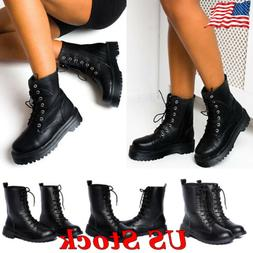 Women Lace Up Vintage Combat Motorcycle Ankle Boots Casual L