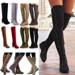 Women Ladies Over The Knee High Motorcycle Boots Lace Up Zip
